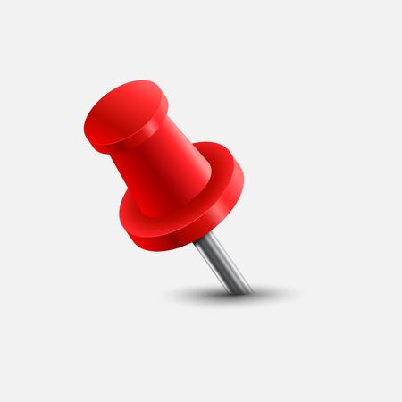 illustration of red push pin. Illustration