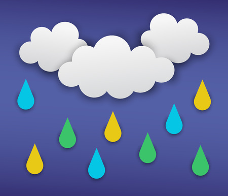 illustration of gray clouds with rain on the dark blue background Illustration