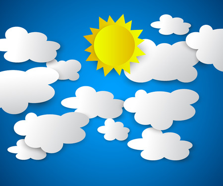 Vector illustration of clouds with sun on the blue background. Summer sky, bright sun. Modern 3d origami paper art style.