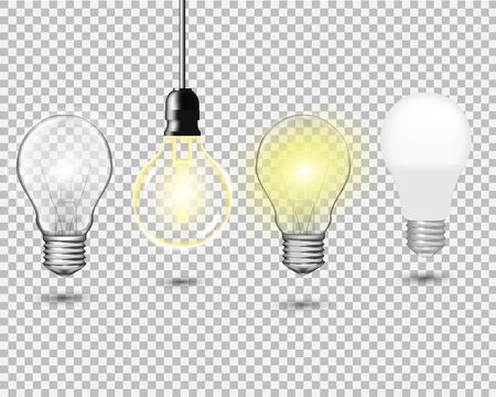 Set of realistic vector transparent light bulbs