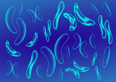 Micro bacterium and therapeutic bacteria organisms. Microscopic salmonella, lactobacillus or acidophilus organism. Abstract biological vector background  イラスト・ベクター素材
