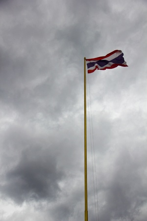 Thai flag in the cloudy sky