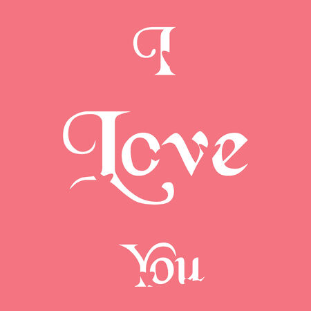 i love you word in pink background