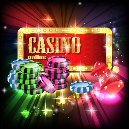 Casino Party Vector - Role the dice - Win big! Casino vector illustration design with poker, slots. Glowing Casino sign. Ilustração