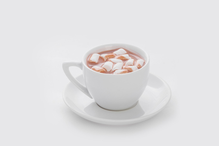 chocolate with marshmallows on a white background Standard-Bild