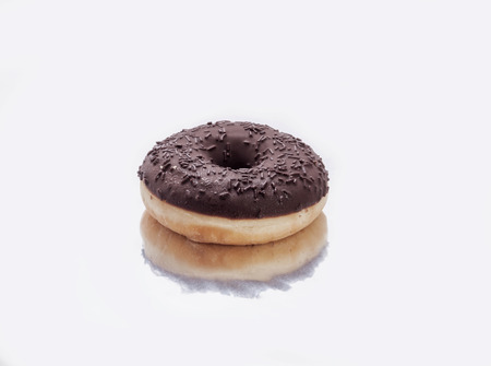 donut with chocolate on a white background