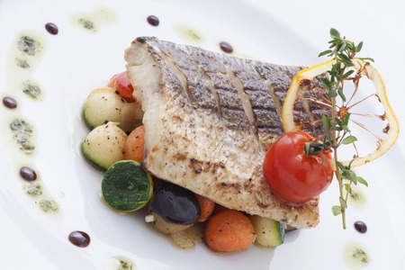 halibut: halibut with vegetables Stock Photo