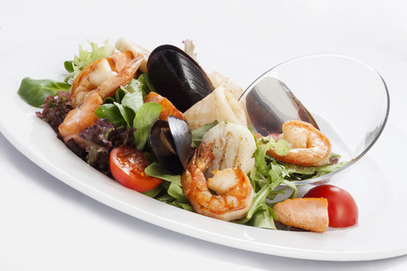 seafood salad on a white plate