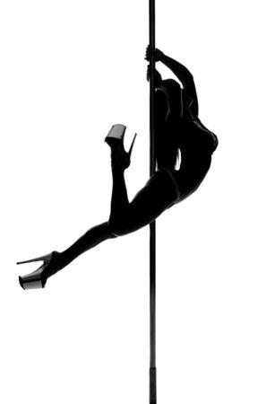 Pole Dance Frau Silhouette Standard-Bild