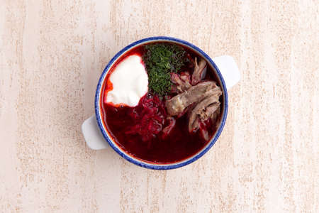 Traditional organic beetroot soup - borscht or borshch with meat