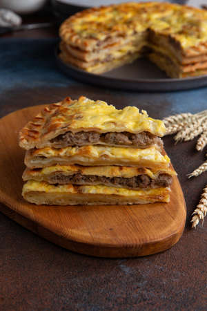 National traditional Caucasian food: Ossetian pies, khachapuri, chudu Selective focus Standard-Bild