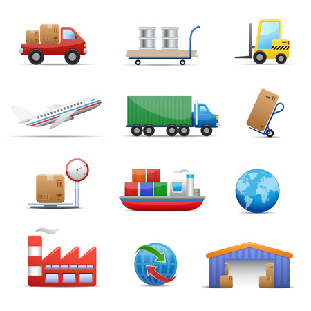 distribution: Industry & logistics Icon Set Illustration