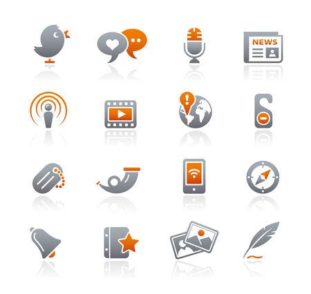Blog & New Media icons  Graphite Series Vector