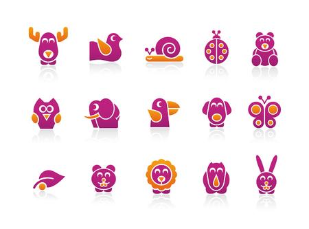lumaca: Colori di 2 animali stilizzati  Vettoriali