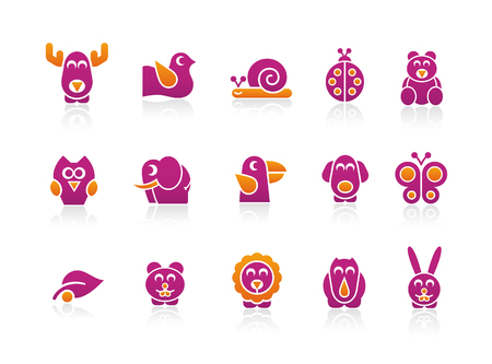 pigeons: Couleurs 2 animaux stylis�s