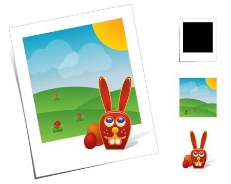 monta�as caricatura: Escenas animales  conejo de Pascua
