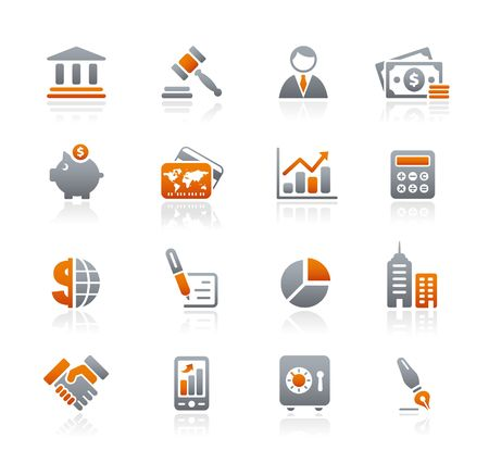 bank office: Business & Finance  Graphite Icons Series Illustration
