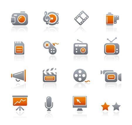 grafito: Multimedia   serie de iconos de grafito  Vectores