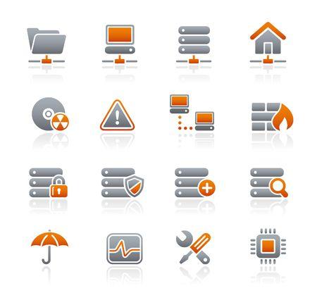 grafito: Red & Server   serie de iconos de grafito