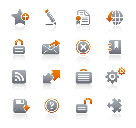 Web Site and Internet Graphite Icons Series Vector