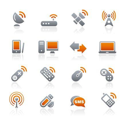 grafite: Comunicazioni senza fili   serie di icone di grafite Vettoriali