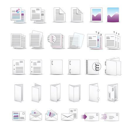 Afdrukken pictogrammen Vector Illustratie