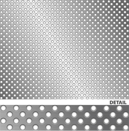 Brushed steel sheet with holes Vector