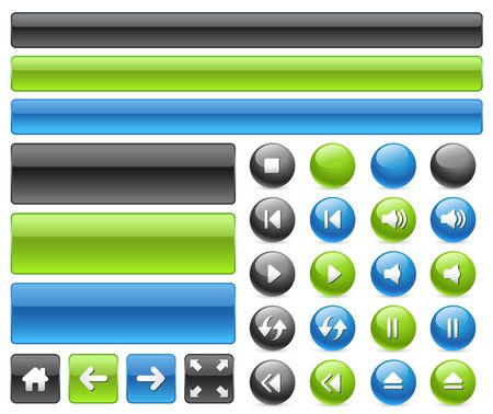 controls: Gel web buttons & music controls icons Stock Photo