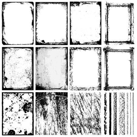 grunge brush: Set of Frames, Textures, Lines & Brushes. Illustration