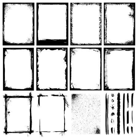 Conjunto de marcos, texturas, líneas & pinceles.  Ilustración de vector