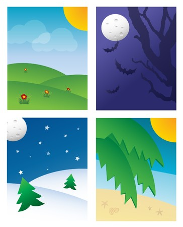 Four Seasonal Backgrounds (Spring, Autumn, Winter & Summer ).