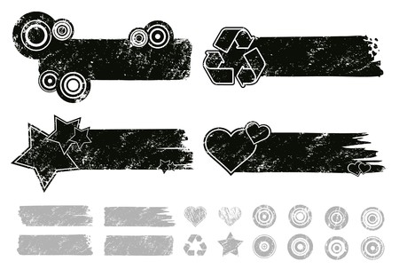 Grunge Banners  Each element separately for making your own composition. Vector