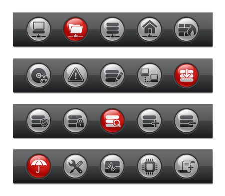 Network & Server   Button Bar Series Vector