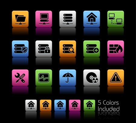 firewall icon: Network & Server   The file includes 5 colors in different layers. Illustration