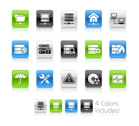 disk drive: Network & Server   The file includes 4 colors in different layers.