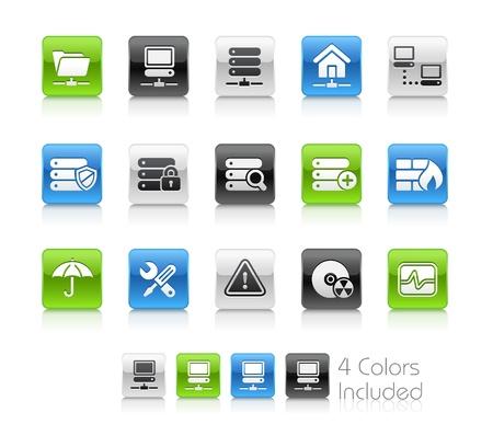 e commerce icon: Servidor de red & el archivo incluye 4 colores en capas diferentes. Vectores