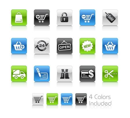e commerce icon:  Compras  El archivo incluye 4 colores en capas diferentes. Vectores