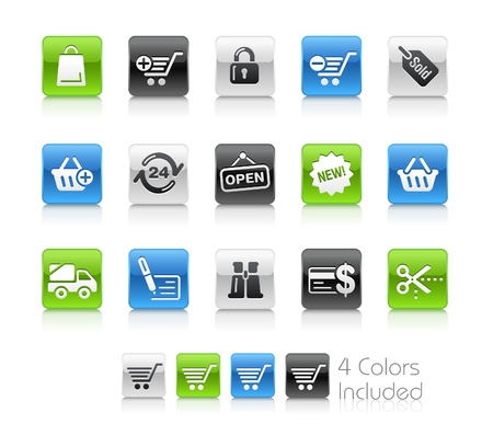 shopping cart icon:  Shopping   The file includes 4 colors in different layers.