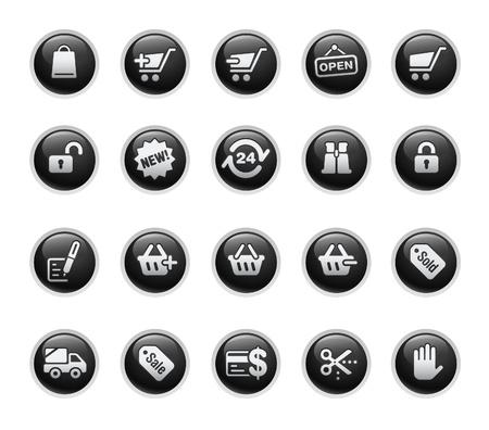 e commerce icon:  Serie de etiqueta negra  compras Vectores