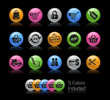 e commerce icon:  Shopping   The file includes 5 colors in different layers.
