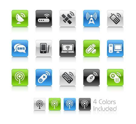 telecomunicaci�n: Comunicaciones inal�mbricas & el archivo vectorial incluye 4 colores en capas diferentes. Vectores