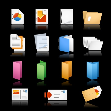 Print Office Icons Black Background