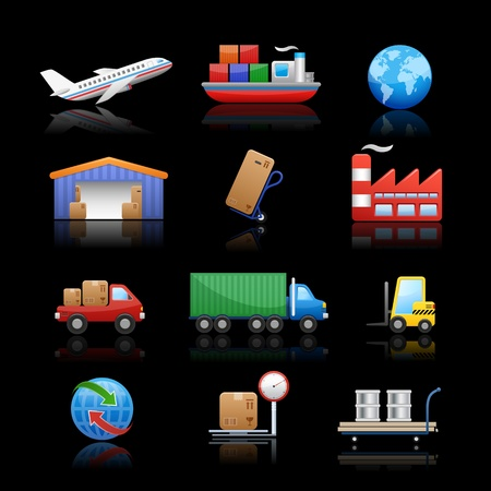 car factory: Industry   logistics Icons - Black Background