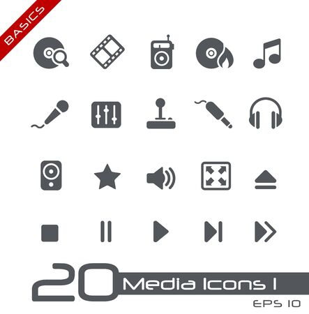 Media Icons - Basics Stock Photo - 13604400