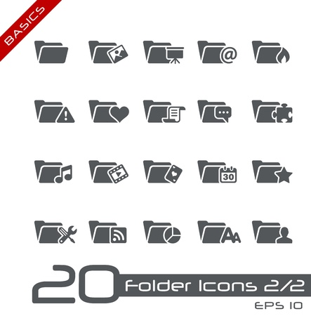 Folder Icons - Set 2 of 2 -- Basics Stock Vector - 13786006