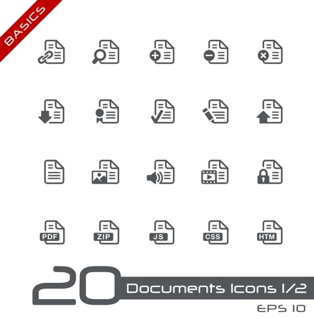 css: Documents Icons - Set 1 of 2 -- Basics Illustration