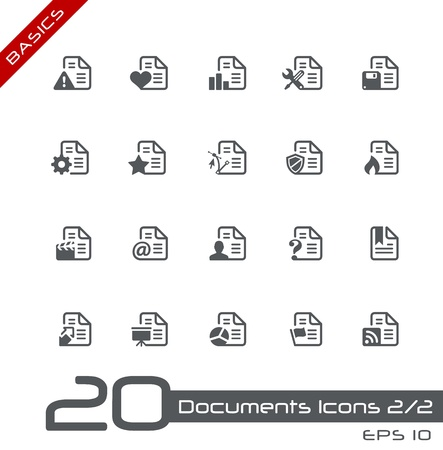 Documents Icons - Set 2 of 2 -- Basics Stock Vector - 13993616