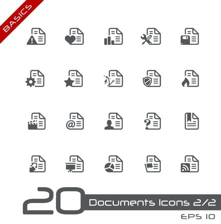 Documents Icons - Set 2 of 2 -- Basics Stock Vector - 13993616