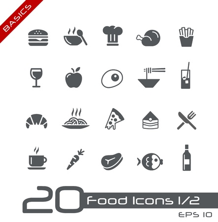 fried noodles: Food Icons - Set 1 of 2 -- Basics Illustration