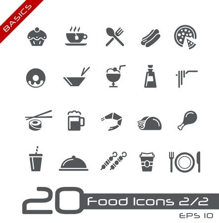 kontinentální: Jídlo ikony - Sada 2 z 2 - Základy Ilustrace